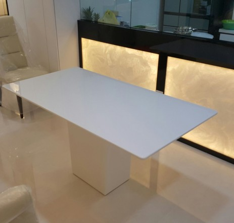 CRYSTAL WHITE MARBLE DINING TABLE 6 SEATER