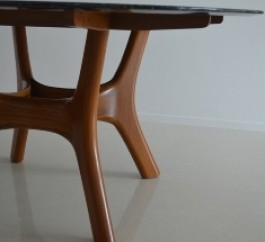 Burmese Teak Wood Leg Marble Table