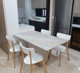 PALISSANDRO CREAM NATURAL MARBLE DINING TABLE 6 SEATER