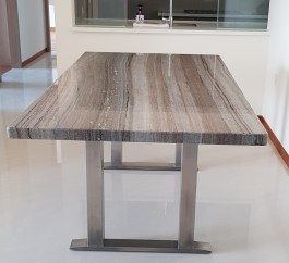 ZEBRANO VENATO CHOCOLATE VEINS NATURAL MARBLE 10 SEATER DINING TABLE