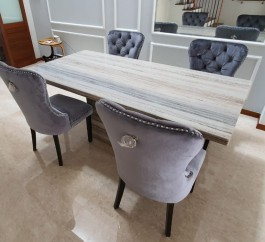 ZEBRANO VENATO NATURAL MARBLE 8 SEATERS DINING TABLE