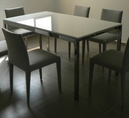 Crystal White 6 Seater Marble Dining table